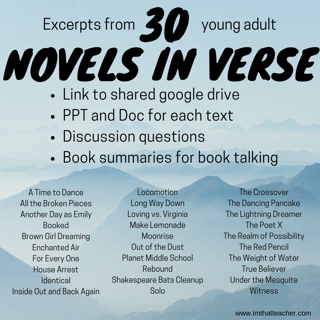 Excerpts from 30 Novels in Verse – I'm That Teacher
